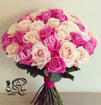 دسته گل رز هلندی سوپر 50شاخه رنگ سپید و صورتی